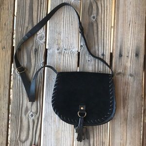 Leather black cross body purse